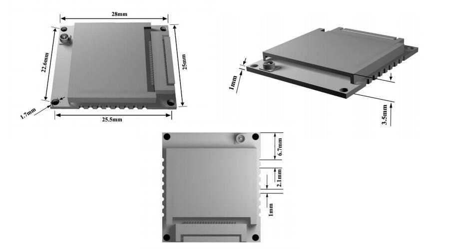Dimensionen des M-550 integrierten RFID UHF Lesermoduls