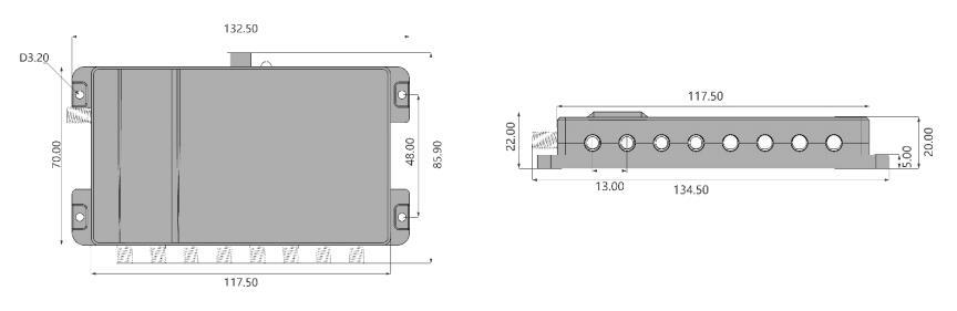 Dimensionen des S8000 UHF RFID Lesegerät