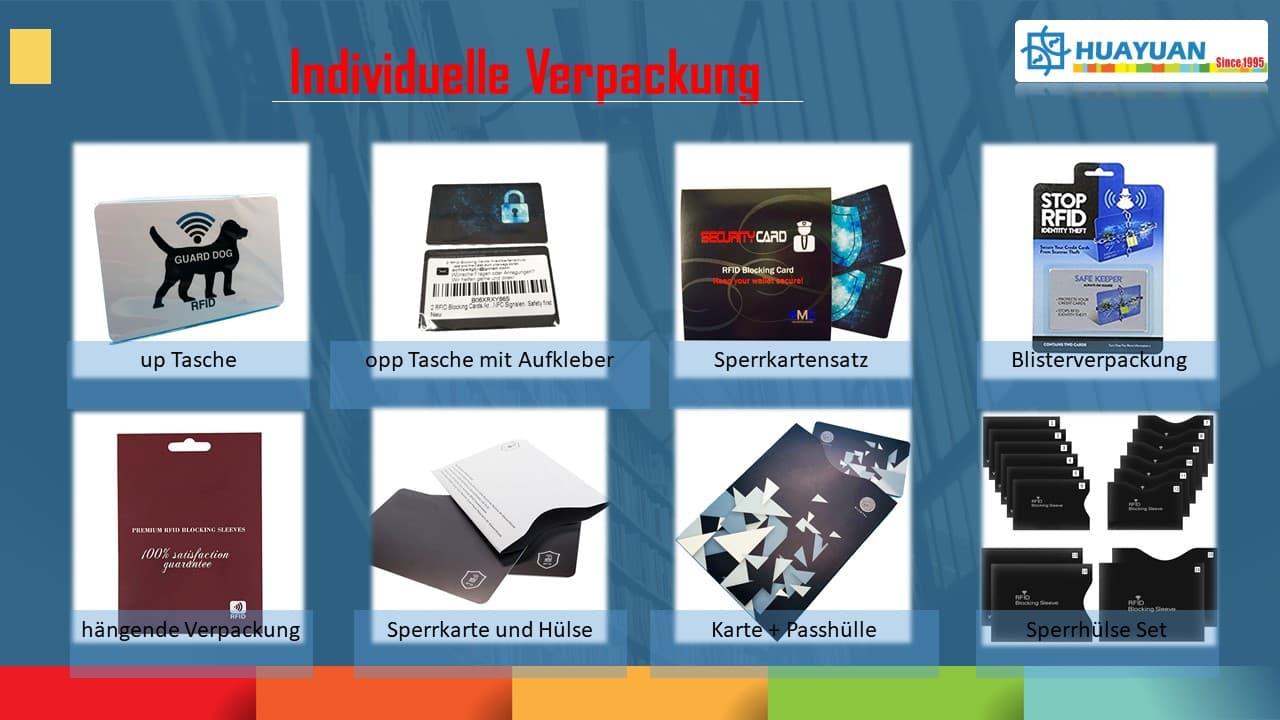Kundenspezifische Einzelhandelsverpackung von RFID Blocker Karten