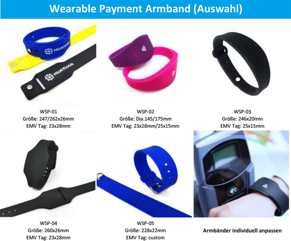 Wearable PaWearable Payment Armband (Auswahl) - HUAYUAN Tech GmbHyment Armband (Auswahl)-